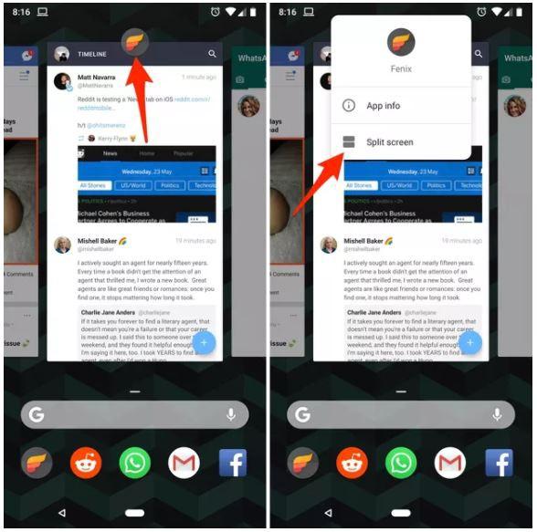 Người dùng có thể dễ dàng sử dụng ứng dụng trong chế độ chia đôi màn hình với Android P.