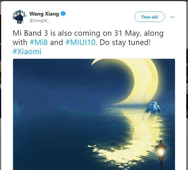 Sếp Xiaomi xác nhận Mi Band 3 sẽ ra mắt cùng Mi 8 và MIUI 10 vào ngày 31/5 - Ảnh 1.