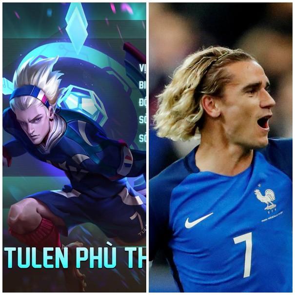 Tulen và Antoine Griezmann đều có trang phục màu xanh với số áo thi đấu là số 7.