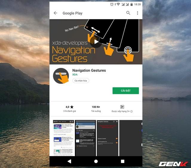 Bước 1: Mặc đinh Navigation Gestures được phát hành miễn phí trên Google Play, tuy nhiên nó chỉ hỗ trợ một số thao tác cử chỉ vuốt cơ bản. Nếu cần nhiều hơn, bạn cần phải bỏ chút ít phí để mua gói Premium bổ sung.