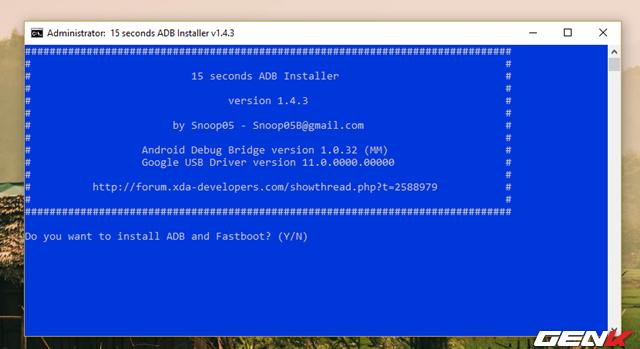 """Hoàn tất việc tải về phiên bản mới nhất của ADB Installer, hãy khởi chạy gói tin và lần lượt nhập """"Y"""" vào cửa sổ dòng lệnh rồi nhấn ENTER để xác nhận các cài đặt về """"ADB and Fastboot"""", """"ADB system-wide"""" và """"Drivers""""."""