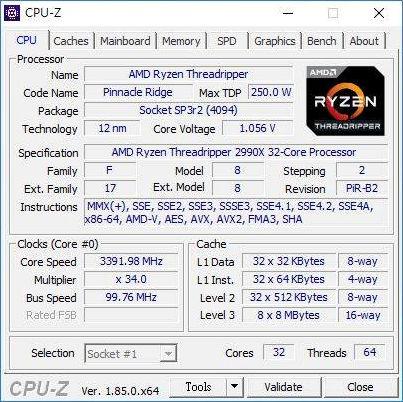 Lộ diện thông số chi tiết của quái vật CPU 32 nhân Threadripper 2990X: Xung nhịp 3,4 GHz, tiêu tốn 250W điện năng - Ảnh 2.