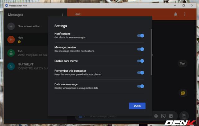 Trường hợp nếu cảm thấy giao diện Android Messages for Web khá chói mắt thì bạn có thể kích hoạt giao diện nền tối thông qua tùy chọn Settings.