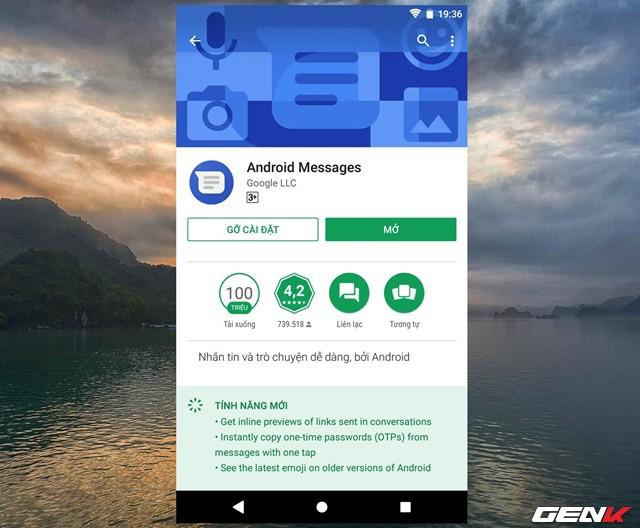 Trước tiên, bạn cần đảm bảo rằng phiên bản Android Messages trên thiết bị của mình phải là phiên bản mới nhất, ít nhất cũng phải là phiên bản 3.3.043.
