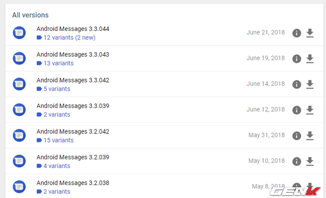 Nếu bạn đang sử dụng phiên bản nhỏ hơn, hãy cập nhật qua CH Play nếu thấy có thông báo, hoặc bạn có thể tải về gói APK mới nhất của Android Messages và tiến hành cài đặt thủ công tại đây.