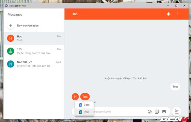 Tất nhiên trong lúc sử dụng Android Messages for Web trên máy tính, thiết bị Android của bạn cũng phải luôn kết nối internet để đảm bảo duy trì tốt việc gửi và nhận tin nhắn. Chi phí nhắn tin sẽ được trừ trực tiếp trên số thuê bao của bạn.