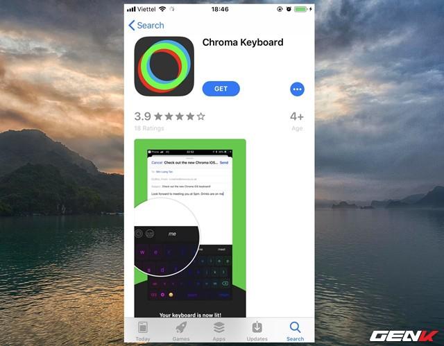 Bước 1: Khởi động App Store, tìm và tải về ứng dụng Chroma Keyboard.