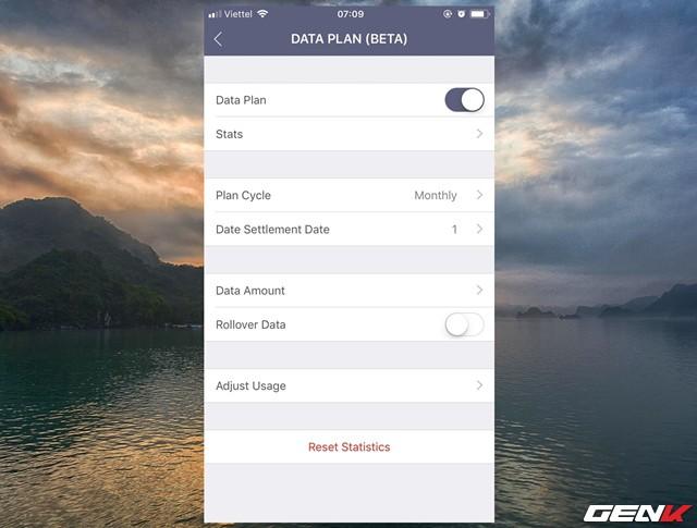 Khi đã kích hoạt xong, giao diện thiết lập theo dõi lưu lượng data sẽ hiện ra, tại đây bạn có thể tùy chỉnh thời gian sử dụng gói data mà mình đang sử dụng để theo dõi.