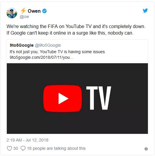 YouTube TV sập ngay lúc Croatia gỡ hòa trong trận bán kết, nhiều người kêu khóc trên Twitter - Ảnh 1.