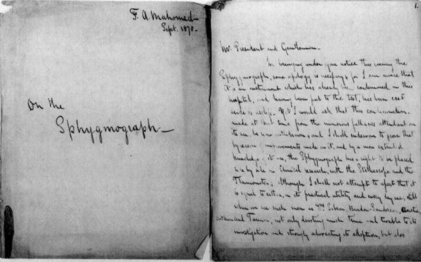 Bút tích mô tả của Akbar Mahomed về bệnh cao huyết áp