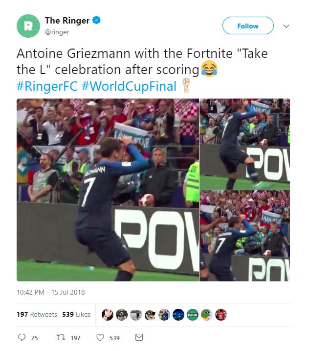 Ghi bàn trong trận chung kết World Cup, Griezzman lại tiếp tục ăn mừng theo kiểu Fortnite - Ảnh 2.