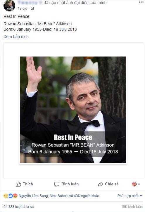 Mr. Bean lại bị khai tử trên mạng xã hội facebook khiến fan phẫn nộ - Ảnh 1.
