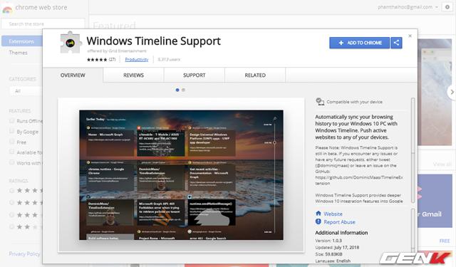 Mang tính năng Timeline của Windows 10 lên Google Chrome - Ảnh 2.