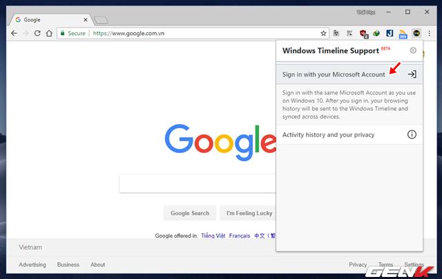Mang tính năng Timeline của Windows 10 lên Google Chrome - Ảnh 4.
