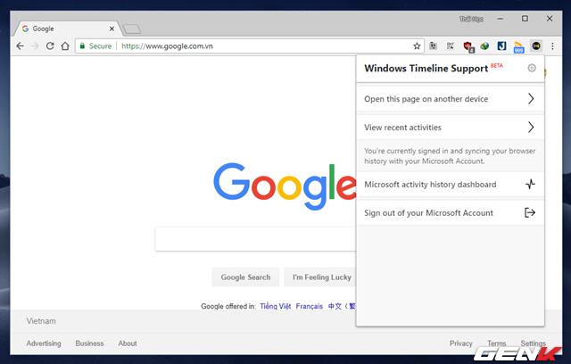 Mang tính năng Timeline của Windows 10 lên Google Chrome - Ảnh 6.