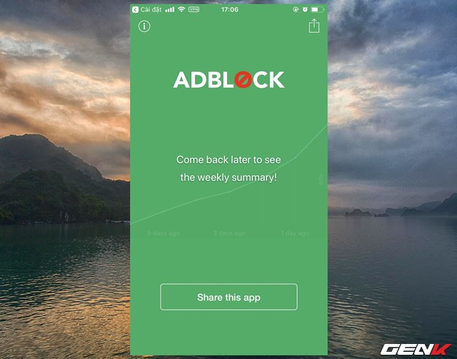 Khi quay lại giao diện của Adblock Mobile, bạn sẽ thấy ứng dụng chuyển sang màu xanh. Cho thấy ứng dụng đã được kích hoạt. Thêm vào đó, biểu tượng VPN trên thanh trạng thái cũng xuất hiện.