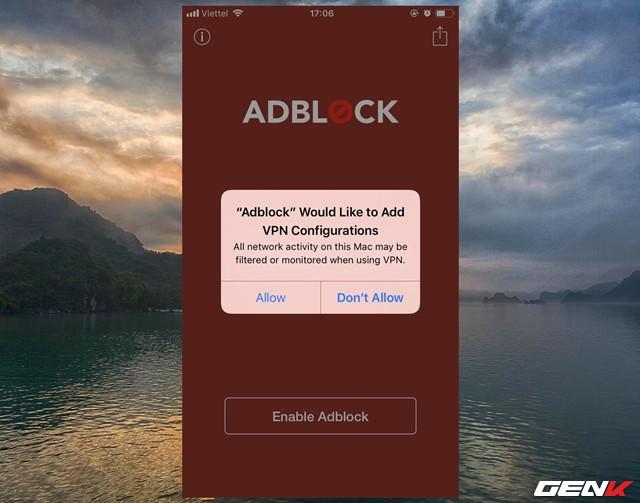 """Như đã nói, do lần đầu sử dụng nên bạn cần phải cho phép ứng dụng được quyền cài đặt cấu hình VPN mà Adblock Mobile chỉ định vào hệ thống. Bạn hãy nhấn """"Allow"""" để xác nhận cho phép."""