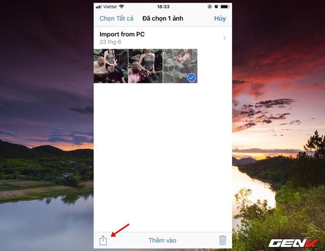 Bước 1: Truy cập đến tập tin cần gửi và nhấp chọn. Sau đó nhấp tiếp vào biểu tượng chia sẻ.