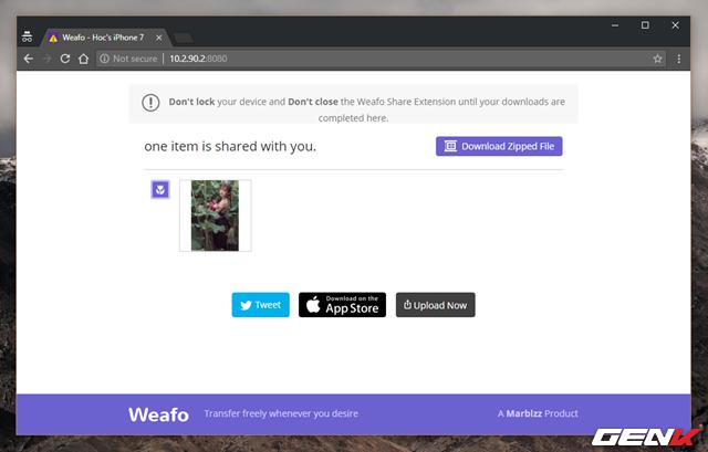 Giờ bạn chỉ việc khởi động trình duyệt web trên máy tính, truy cập vào địa chỉ mà Weafo cung cấp và tải dữ liệu về thôi.