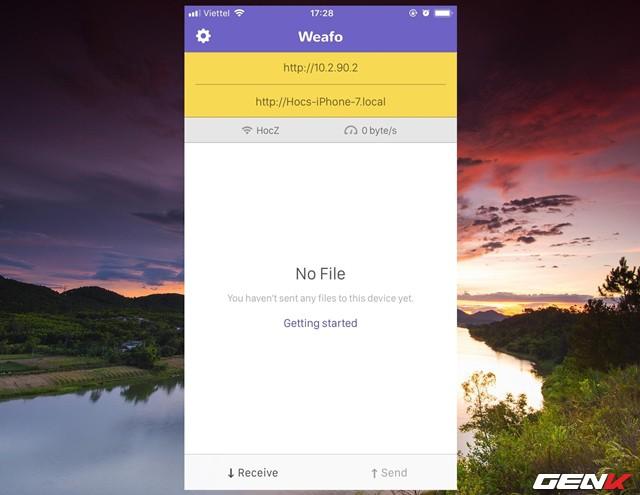 Bước 2: Sau khi trải qua các thông tin trên, giao diện chính của Weafo sẽ hiện ra. Ở đây ứng dụng sẽ thiết lập một địa chỉ kết nối cho thiết bị và máy tính dựa vào địa chỉ IP của mạng kết nối. Bạn có thể sử dụng địa chỉ IP được cấp sẳn hoặc đường dẫn URL dựa vào tên thiết bị điều được cả.