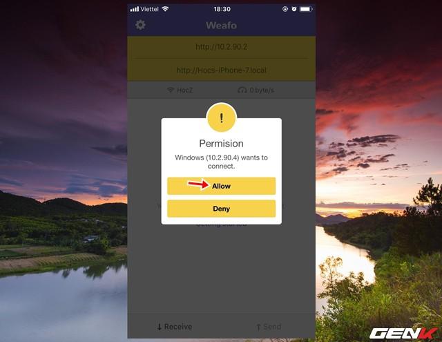 """Khi đó Weafo sẽ nhận diện truy cập và hiển thị thông báo trên thiết bị di động về việc hỏi có cấp phép truy cập hay không. Bạn hãy nhấp vào """"Allow"""" để xác nhận cho phép."""
