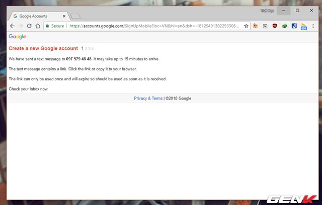 Thủ thuật đăng ký nhiều tài khoản Gmail với chỉ 01 số điện thoại - Ảnh 4.