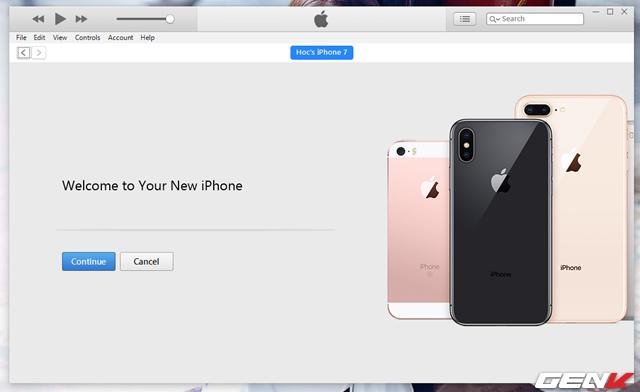 Bước 2: Kết nối iPhone với máy tính và chờ iTunes nhận diện thiết bị.