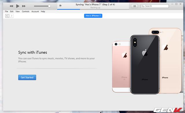 Tiếp theo iTunes sẽ tiến hành sao lưu lại dữ liệu iPhone.