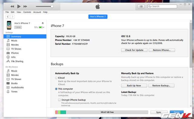 Sau khi hoàn tất, bạn hãy truy cập vào phần quản lý thiết bị trên iTunes rồi… ngắt kết nối iPhone với máy tính.