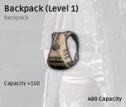 Sức chứa 400 + 150(Cộng thêm do level balo)