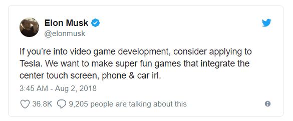 Elon Musk đăng đàn tuyển developer về làm game chơi trên xe Tesla - Ảnh 1.
