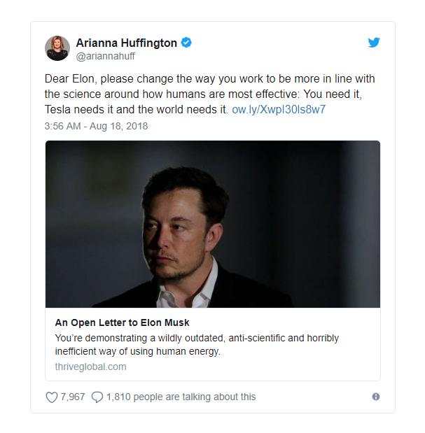 Tổng biên tập Huffington Post khuyên đừng thức đêm nữa, Musk đáp trả bằng dòng tweet lúc 2 rưỡi sáng - Ảnh 1.