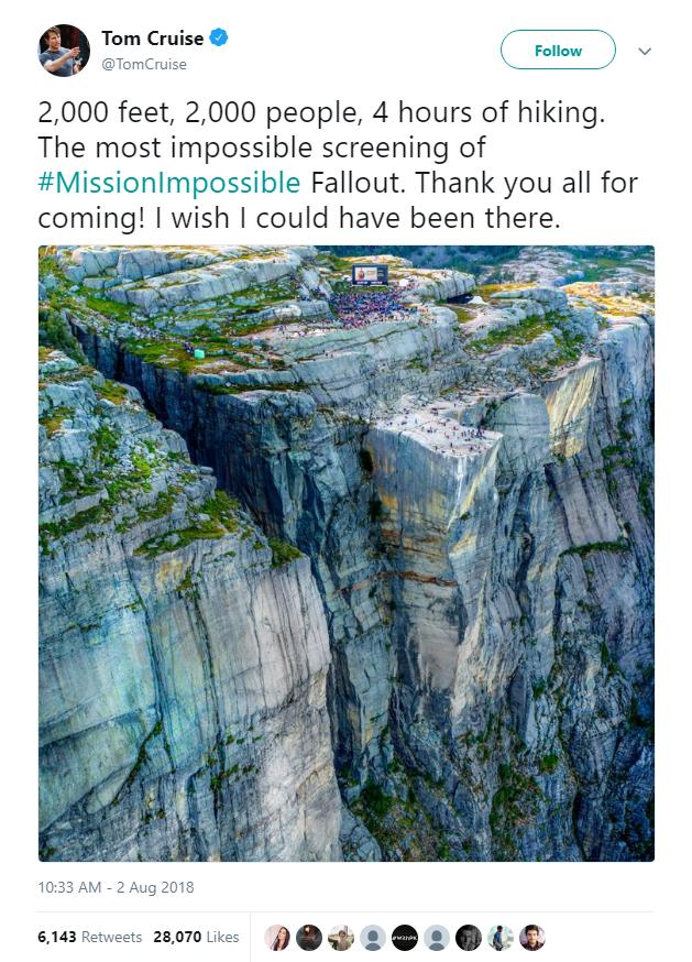 2000 fan hâm mộ đã xem Mission: Impossible - Fallout ở vách núi dựng đứng cao 609m, nơi cảnh hành động lớn nhất diễn ra - Ảnh 1.