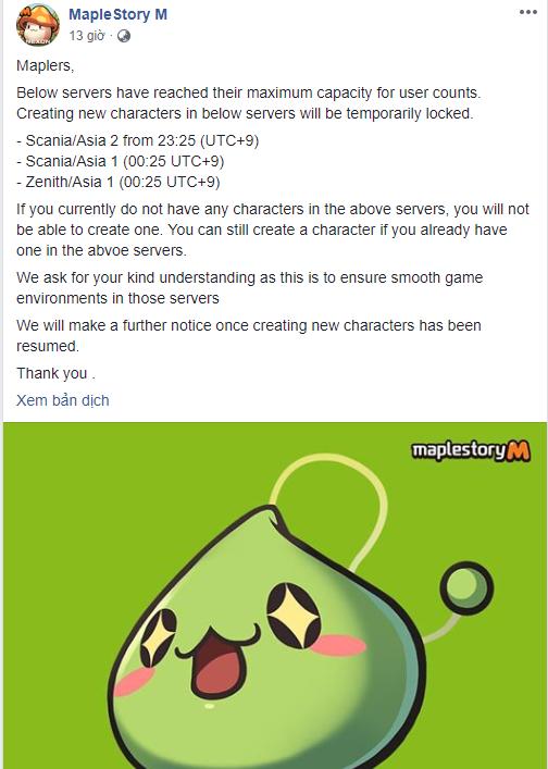 Khó tin: MapleStory M đông người chơi đến nỗi phải tạm khóa tính năng tạo nhân vật - Ảnh 1.
