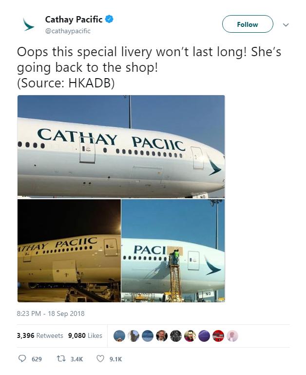Logo trên máy bay của Cathay Pacific thiếu mất chữ F, phải sơn lại mất vài nghìn USD - Ảnh 2.