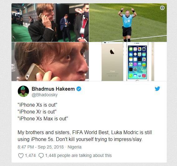 Mặc kệ XS Max, Modric giành giải Cầu thủ xuất sắc nhất năm của FIFA vẫn dùng iPhone 5S - Ảnh 2.
