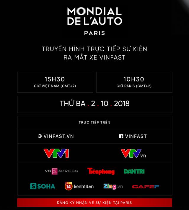 VinFast đổi giao diện hoành tráng, cập nhật lịch livestream màn ra mắt lịch sử tại Paris Motor Show 2018 - Ảnh 10.