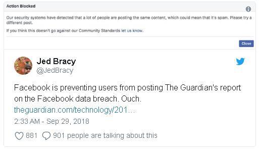 Facebook chặn người dùng chia sẻ về việc mạng xã hội này bị hacker tấn công và 50 triệu tài khoản bị ảnh hưởng - Ảnh 1.