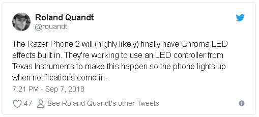 Razer Phone 2 có thể được trang bị hiệu ứng đèn LED Chroma đặc trưng của Razer - Ảnh 2.