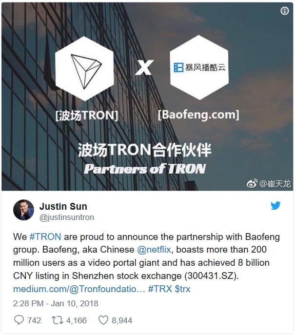 Chúng tôi, TRON, tự hào thông báo về mối quan hệ hợp tác với tập đoàn Baofeng, hay còn gọi là Netflix của Trung QUốc, với hơn 200 triệu người dùng như một cổng video khổng lồ và có doanh thu 8 tỷ Nhân dân tệ.