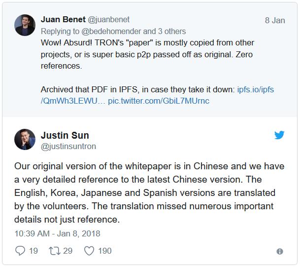 Justin Sun: Bản cáo bạch gốc của chúng tôi viết bằng tiếng Trung Quốc và chúng tôi đã trích dẫn rất chi tiết trong phiên bản mới nhất bằng tiếng Trung.Các phiên bản bằng tiếng Anh, Hàn Quốc, Nhật và Tây Ban Nha, được các tình nguyện viên dịch lại. Việc dịch thuật có thể đã bỏ qua một số chi tiết quan trọng, không chỉ là phần tham chiếu.