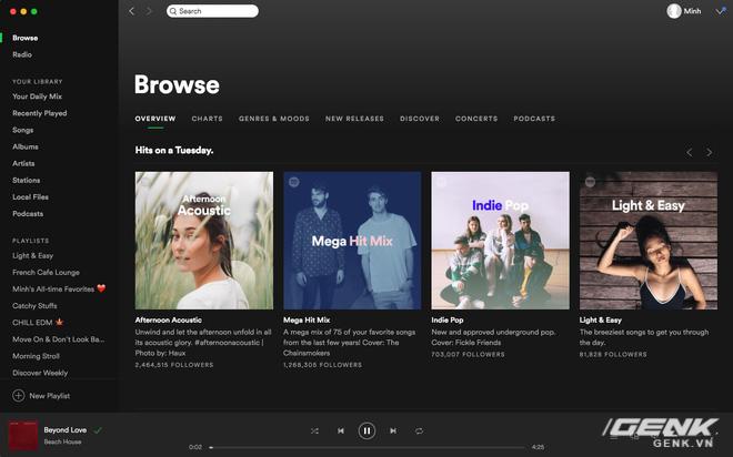 Giao diện chính của Spotify trên máy tính