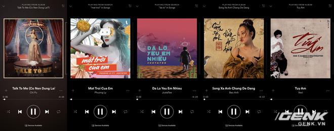Mặc dù Spotify chưa vào VN, nhưng phần lớn các ca khúc thịnh hành đều đã có mặt