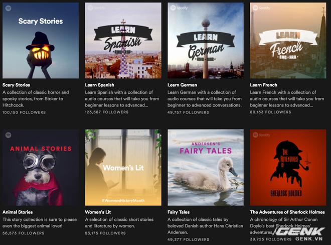 Bên cạnh âm nhạc, Spotify còn có một số nội dung khác như audiobooks hay podcasts