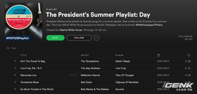 Playlist do đích thân cựu Tổng thống Mỹ Barack Obama lựa chọn
