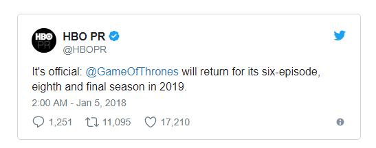 HBO chính thức thông báo: Đến năm 2019 chúng ta mới được xem 6 tập trong phần cuối của Game of Thrones - Ảnh 1.