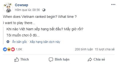 LMHT: Không thèm leo rank Hàn Quốc hay Bắc Mĩ, Cowsep trở lại máy chủ Việt Nam, viết hẳn tâm thư kêu gọi trẻ trâu đừng đá map nữa - Ảnh 2.