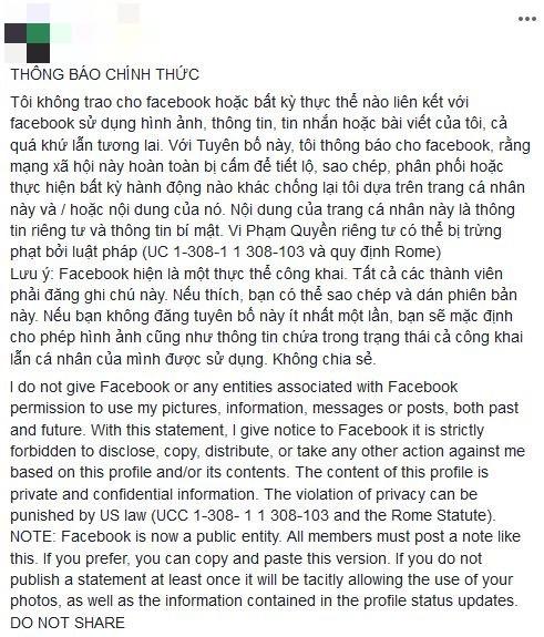 Status bảo vệ thông tin cá nhân trên Facebook là giả, đừng share nữa - Ảnh 1.