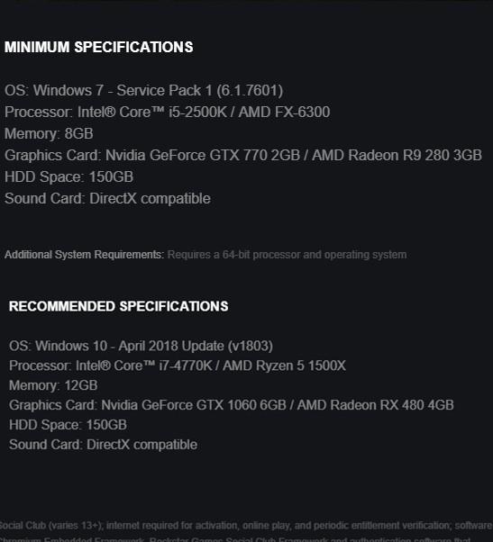 Cấu hình Red Dead Redemption 2 bản PC chính thức hé lộ: Game thủ nhà nghèo vẫn chơi được, ngốn tận 150GB dung lượng ổ cứng - Ảnh 1.