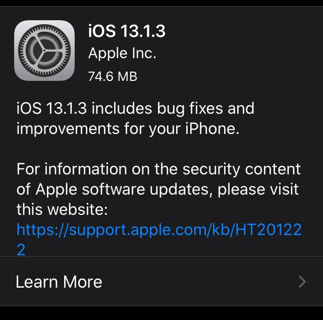 Apple tung ra iOS 13.1.3, tiếp tục sửa hàng loạt lỗi quan trọng - Ảnh 1.